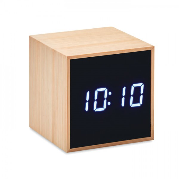 Mara Clock - LED Tischuhr Bambus