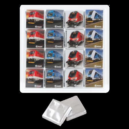 Transparente Box 16 x 5 gr. Barry Callebaut Schokolade