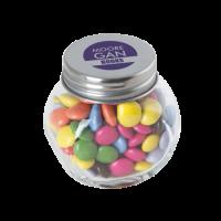 Bonbonglas mini gefüllt ca. 40 gr. Schokocarletties farbigem Deckel