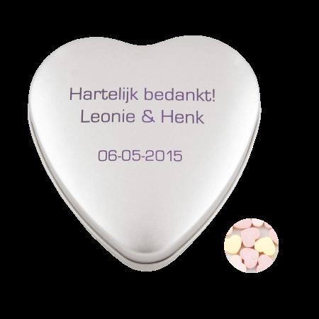 Blechdose Herz silber ca. 80 gr. Herzbonbons