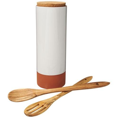 Terracotta-Pastabehälter mit Löffeln