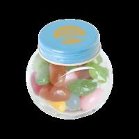 Bonbonglas mini gefüllt ca. 40 gr. Jelly Beans farbigem Deckel